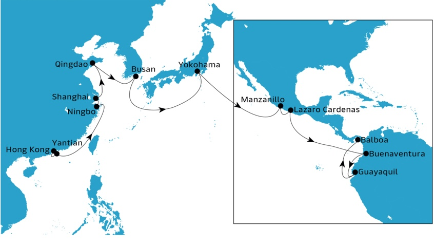Imagen de Maersk sobre ruta del servicio AC2